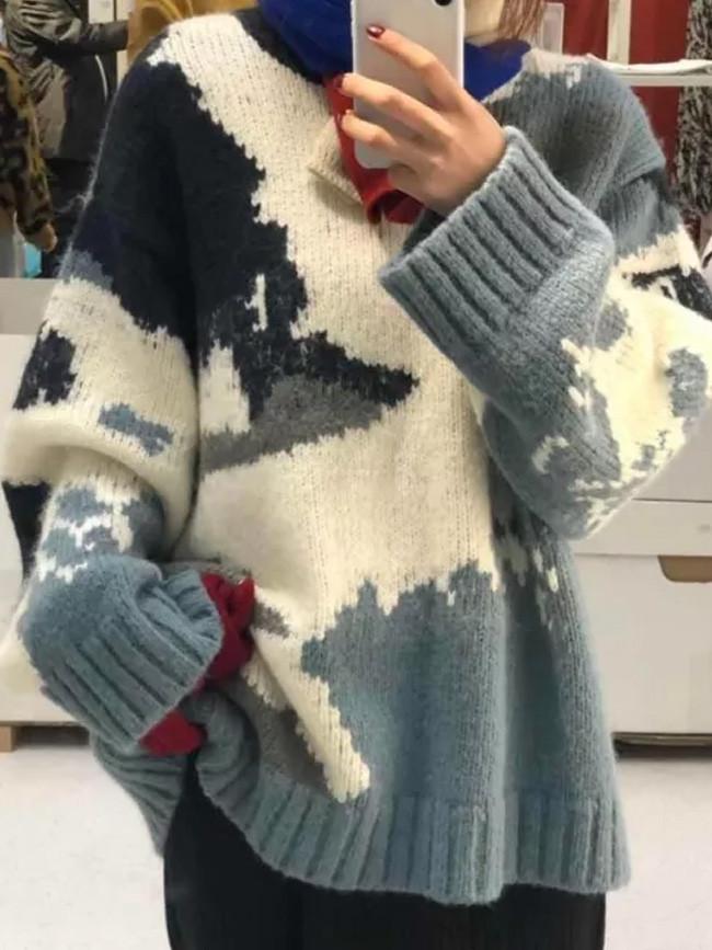 Women Autumn Winter Thick Long Sleeve Knit Jumper O-Neck Warm Sweaters