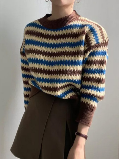 Striped Knitted Patchwork Long Sleeves Warm Casual Sweaters