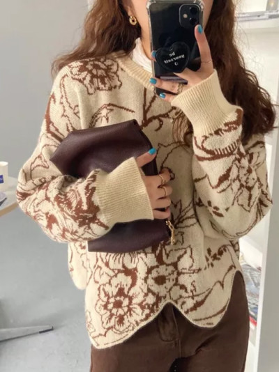 Women Fashion Retro O-Neck Knitwear Floral Printing Sweater Pullovers