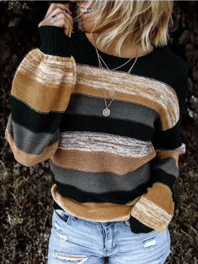 Striped Sweater O Neck Long Sleeve Loose Knit Pullover