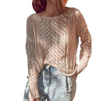 Casual Long-sleeves Knitwear Solid Color Round Neck Pullover Sweaters