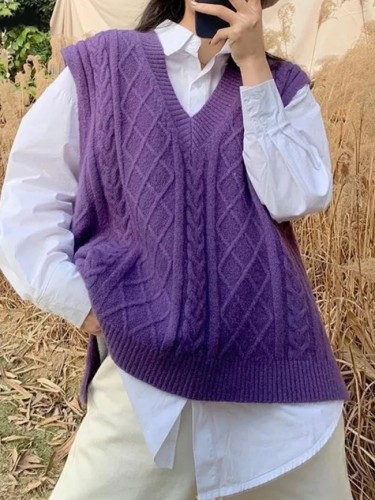 Knitted Vests Sweater Women Classic Retro Stylish V-neck