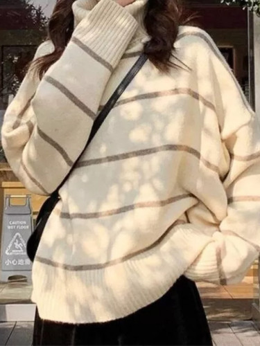 Turtleneck Sweater Women Patchwork Casual Thickening Warm