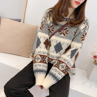 Christmas Retro autumn and winter knit pullover Long sleeve turtleneck