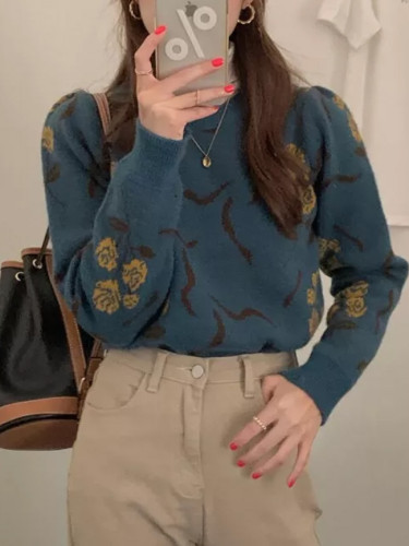 Knitted Warm Long Sleeves Floral Printing Casual Autumn Winter Sweaters