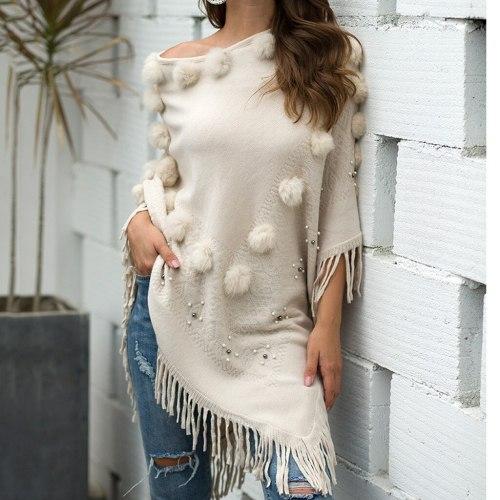 Winter O-Neck Solid Hairball Beading Tassel Cloak Loose Shawl Cardigan Casual Sweater Coat