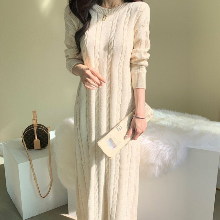 Long Sleeve Sweater Knitted Dresses Long loose Knitting Robe