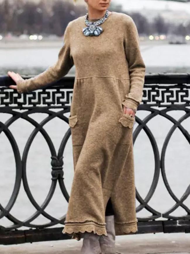 Vintage Women Autumn Winter Long Sleeve Lacework Hem Knit Maxi Dress
