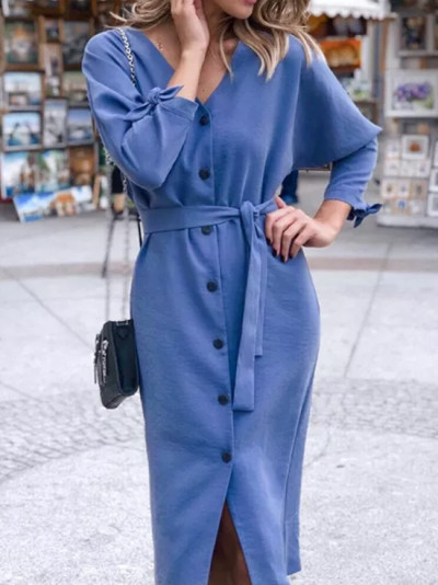 Women V-neck Knitted Long Sleeve Casual Solid warm Dress