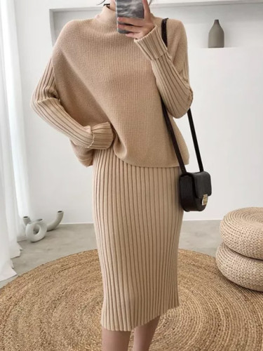 New Fashion Suit Dress Women Knitted Long Sweater