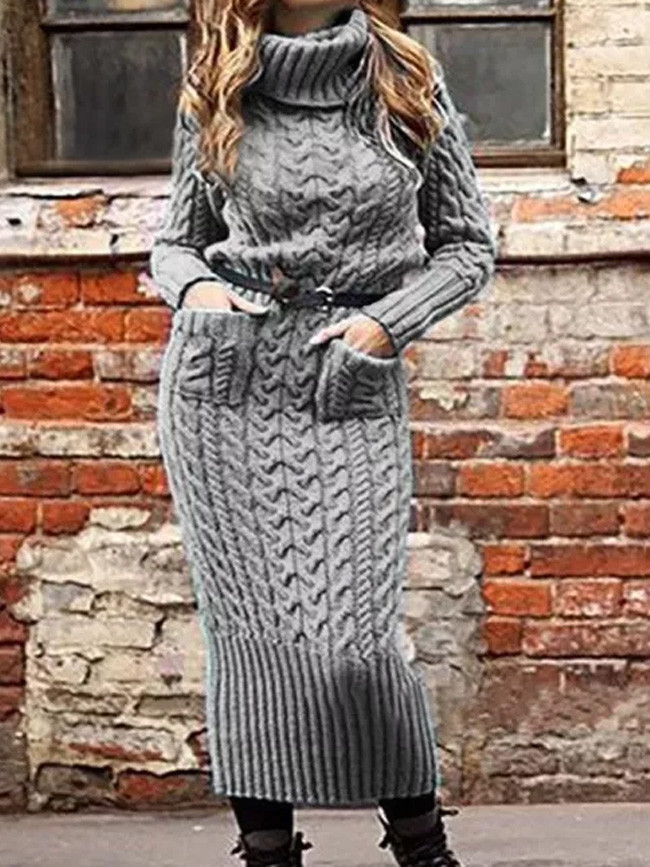 Turtleneck Long Sleeve Pullover Sweater Dress Warm Knitted Casual Loose Dresses