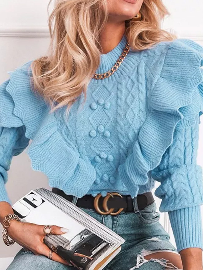 Retro Knitted Sweaters Ruffles Patchwork Long Sleeves Crocheted Pullover