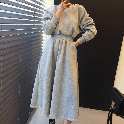 Winter Solid High Elastic Waist Casual Long Sleeve Plus Velvet Warm Dress