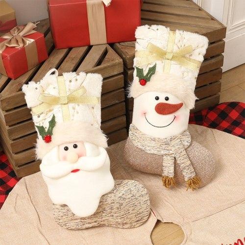 Christmas white Christmas socks Christmas decorations gift bag