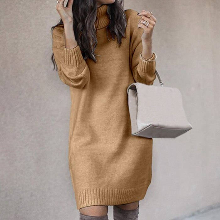 Turtleneck Long Sleeve Sweater Loose Tunic Knitted Pullovers Sweater Knit Dresses