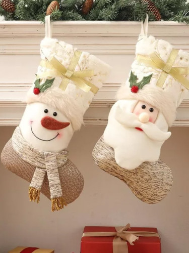 Christmas white Christmas socks Christmas decorations gift bag