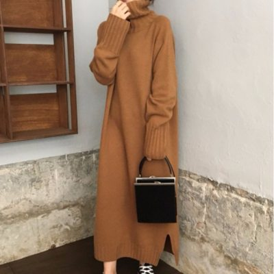 Turtleneck Knitted Sweater Dress Women Causal Autumn Winter Dress Brown