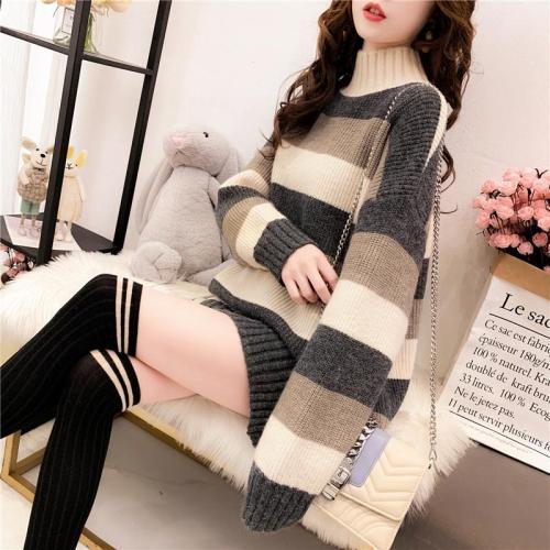 Long Sleeve Autumn Winter Sweater Dress Women Turtleneck Stripe Casual Knit