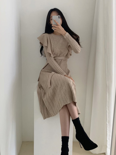 Ruffled Waist Dresses Autumn Winter Women'S Sweater Knitt Dress
