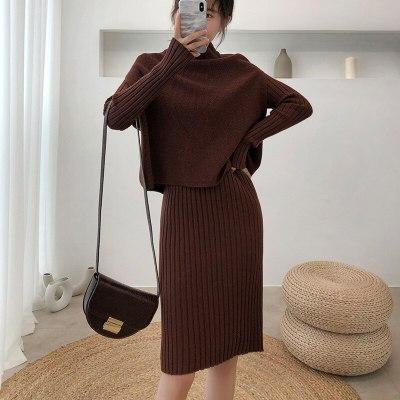 New Fashion Suit Dress Women Knitted Long Sweater
