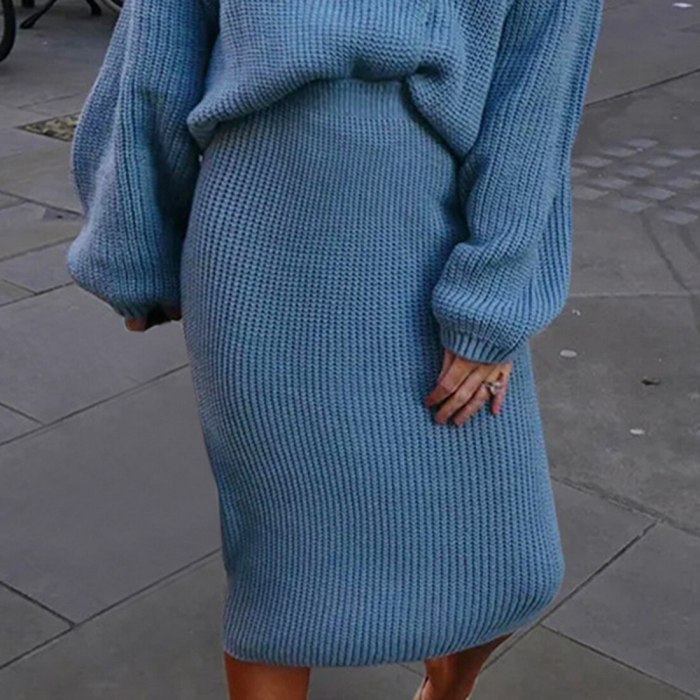 Autumn Knitted Set Womans Suits Thick Loose Plaid Sweater