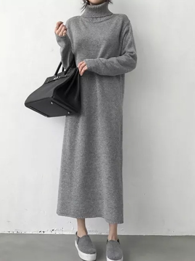 Warm Turtleneck Thick Knitting Winter Black Sweater Dress