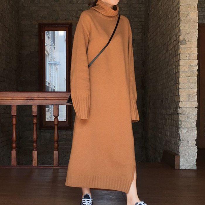 Turtleneck Knitted Sweater Dress Women Causal Autumn Winter Dress Brown