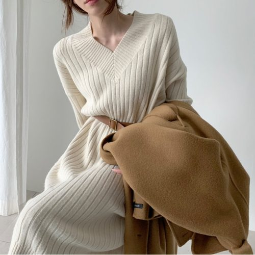 Winter Long Sleeve Sweaters Knitted Dresses