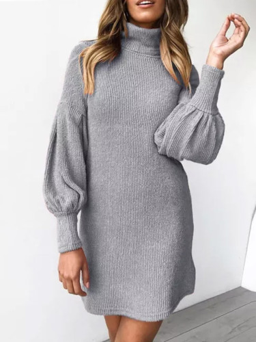 Winter Warm Turtleneck Long Sleeve Knitted  Dresses