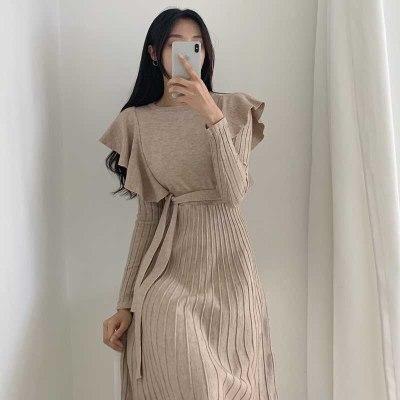Ruffled Waist Dresses Autumn Winter Women'S Sweater Knitt Dress