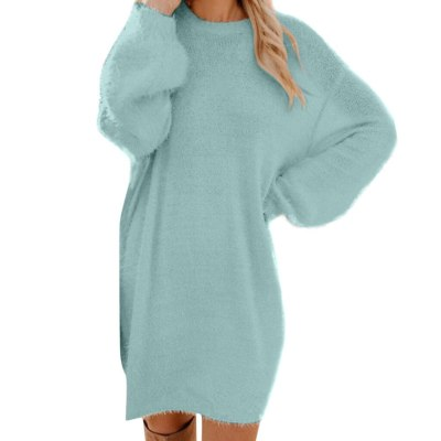 Casual Winter Thick Knit Turtleneck Warm Long Sleeve Pocket Pullovers Sweater Dress