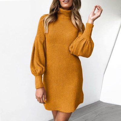 Winter Warm Turtleneck Long Sleeve Knitted  Dresses