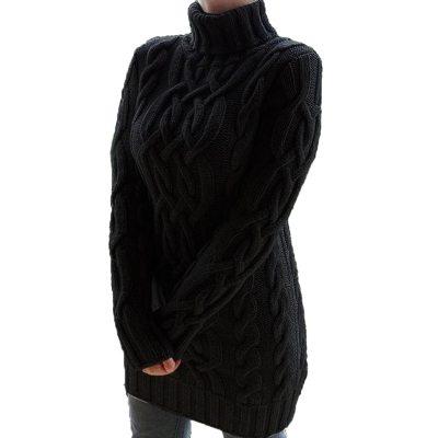 Women Turtleneck Knitted Sweater Dress Autumn Winter Casual Loose