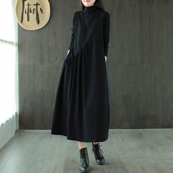 Autumn Winter Dress Casual Long sleeve Shirt Turtleneck Cotton Vintage