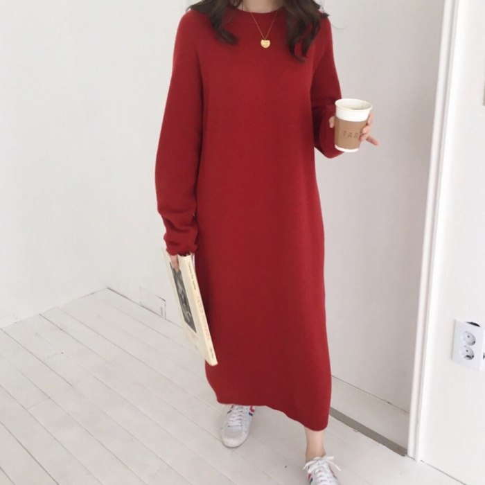 Warm Sweater Women Autumn Dress Winter Long Sweater Knitted Dresses