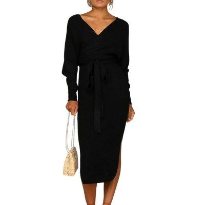 Deep V Neck Long Sleeve Knitted Sweater Women Autumn Winter Casual Dress