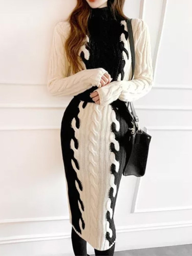 Long Sleeve Turtleneck Patchwork Twist Warm Thick Sweater Dress