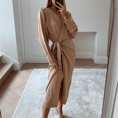 Women Elegant Long Knitted Wrap Dress Winter V Neck sashes Dress