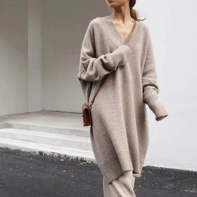 Sweater Dress Long sleeve Knitted Dresses Long loose Knitting Robe