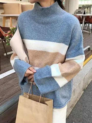 High neck thick sweater women loose striped knitted blouse