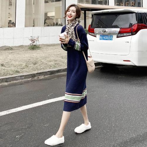 Women Long Sweater Dress Loose Warm Long Sleeve Strpied