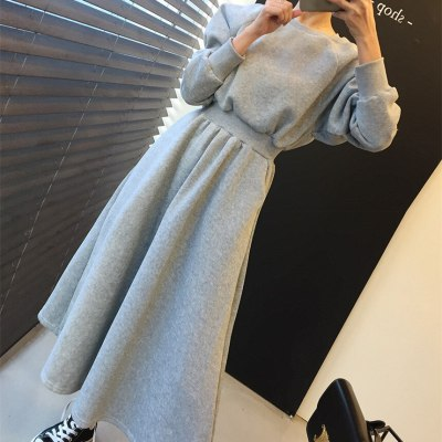 Winter Solid High Elastic Waist Casual Long Sleeve Plus Velvet Warm Dress