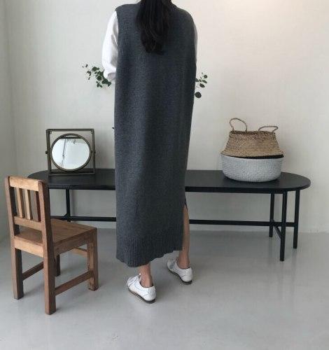 Side Split Warm Autumn Winter Long Sweater Knitted Loose Sleeveless long vest Dresse