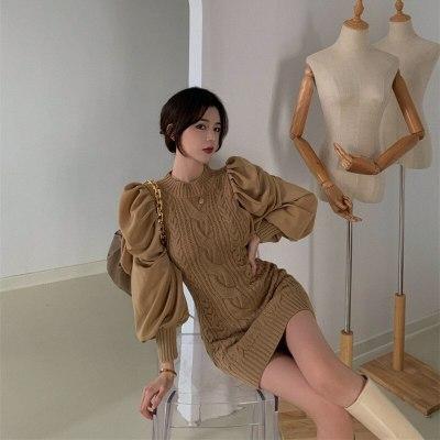 Sweater Dress Fall Winter New Ruched Puff Sleeve Knitted Sheath