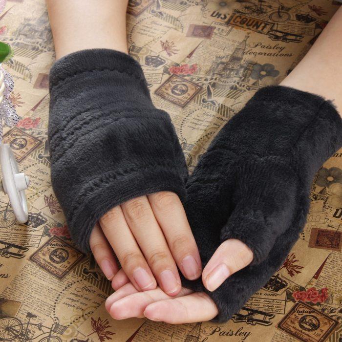 Winter gloves women Soft Polar Fleece Warm Half Finger Gloves