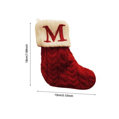 Knitted Christmas Stocking Hanging Gift Bag Decoration Pendant Candy Bag Twist Sock