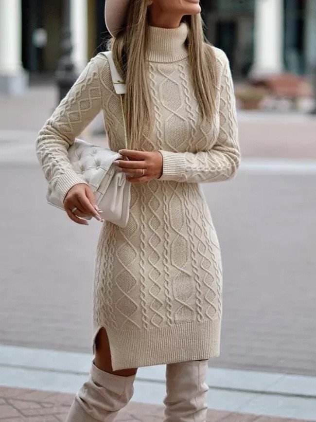 Turtleneck knitted Sweater Dress Women Winter Pullover Short Dresses