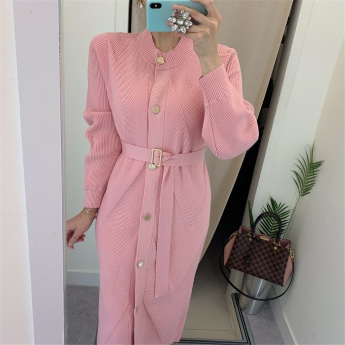 O-neck Single-breasted Sweater Dress Long Sleeve Belted Knitted Mid-length Dress
