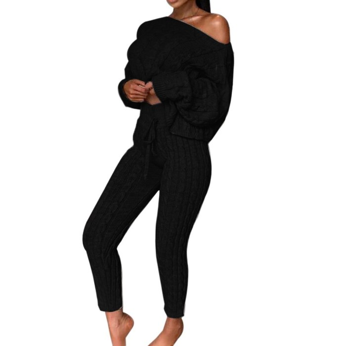 Casual Knit 2 Piece Sets Winter Outfit Long Sleeve Sweater Pullover And Pants