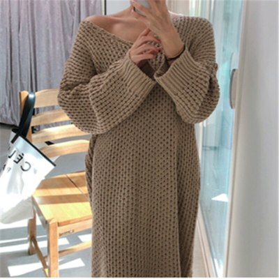 Vintage Warm Sweater Dress Long Sweater Knitted Dresses